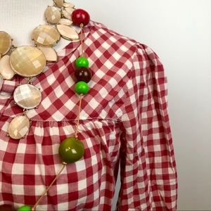 Gap Red & White Gingham Check Blouse